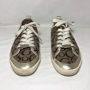 Guess Sz 6.5 Women Logo Canvas Low Tops Sneakers
